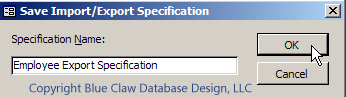 Access Export Specifications